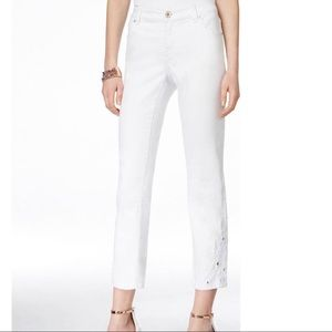 INC Petite Cropped Jeans Embroidered White NWT